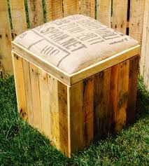 Wood Storage Ottoman Reclaimed Wood Storage Ottoman With Padded Burlap Top Wood