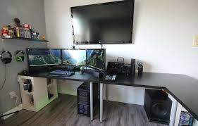 desk office setup amazing gaming desk setup dope 3x screen setup