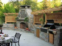 outdoor patio stone outdoor fireplace and bbq kitchen plans