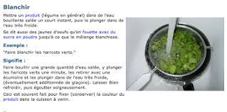blanchir en cuisine learn with sandrine de vocabulaire la cuisine