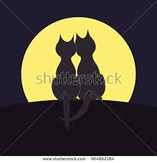 silhouettes two cats on back moon stock vector 664862164