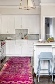 Orange And White Rugs Orange And Pink Rug In White Kitchen Transitional Kitchen
