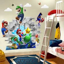 chambre mario 3d view mario room decor wall sticker wall