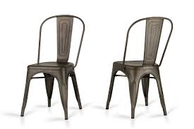 Metal Dining Room Chair modern rust metal dining chair set of 2