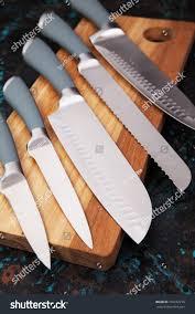 modern kitchen knives set five modern kitchen knives on stock photo 732232279