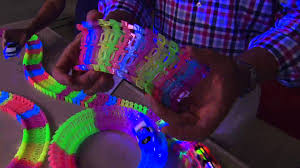 light up car track as seen on tv twister trax 12ft glow in the dark set w 2 light up cars with rick
