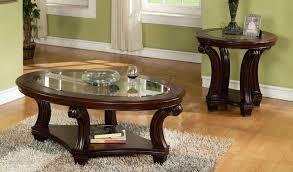 confortable dark wood coffee table with glass top on home design
