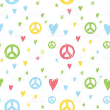 vector seamless cartoon pattern with peace sign hearts and stars
