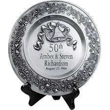 50th anniversary plate personalized personalized anniversary pewter plate walmart