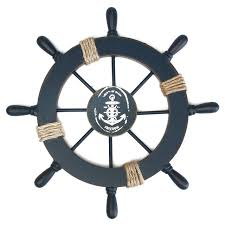 wooden boat wall mediterranean nautical wooden boat ship wheel helm home wall