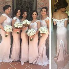 wedding dressing gowns pink mermaid bridesmaid gowns shoulder lace applique