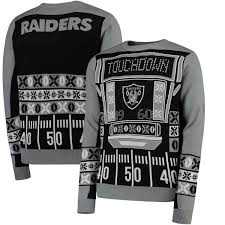 raiders light up christmas sweater oakland raiders klew black light up ugly sweater