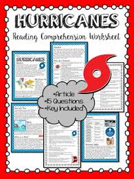 hurricanes informational reading comprehension worksheet weather