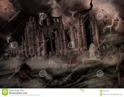 halloween graveyard and church stock photo image 45951652