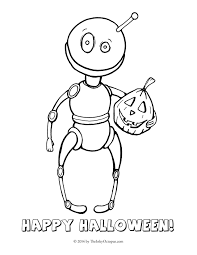 Happy Halloween Coloring Page by Printable Octopus And Robot Halloween Coloring Pages The Inky
