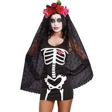 Skeleton Dress Scary Black Skeleton Dress Costume N10829