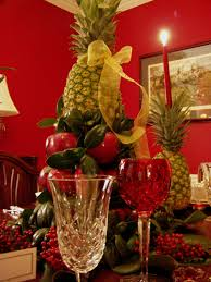 outstanding christmas table arrangements ideas with red main wall