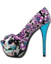 Skull High Heels Sugar Skull High Heels Day Of The Dead Tattoo Glitter Mega