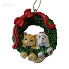 hang in there cat and dog christmas wreath tree ornament
