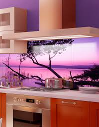 printed acrylic kitchen splashbacks splash purple lagoon