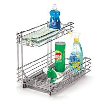 household essentials 12 in under sink sliding organizer kd chrome