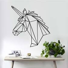popular unicorn wall decor buy cheap unicorn wall decor lots from geometric unicorn horse head wall stickers modern style creative design home decor for wall decoration 3d