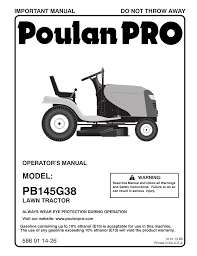 poulan pro pb145g38 lawn tractor user manual 56 pages