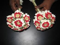 Indian Wedding Flowers Garlands Lily Sampangi Indian Bouquet With Red Rose Pedals And Gold