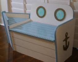 toy box toy chest nautical nursery boat bench toy boat