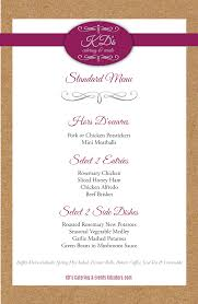 Buffet Menu For Wedding by Standard Menu Kd U0027s Catering U0026 Events