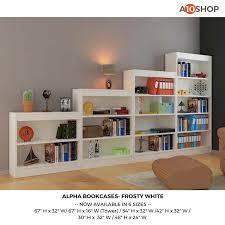 buy alpha bookshelf u0026 storage cabinet with 3 shelf 54