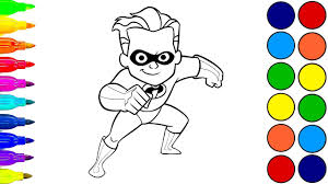 drawing dash parr incredibles coloring pages learn