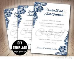blue wedding invitations navy blue wedding invitation template diy instant