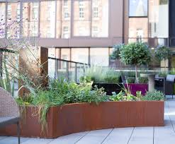 bespoke faux corten steel planters for balcony livingreen design