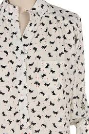 cat blouse cat print button shirt i one in navy blue with white