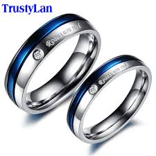 wedding rings sets his and hers for cheap aliexpress buy trustylan blue engagement rings for men and