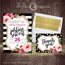 Sweet 16 Invitation Cards Black Stripe Gold Glitter Floral Kate Sweet 16 Birthday Party