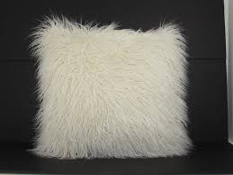 White Throw Pillows Bed Faux Fur Mongolian Pillow White