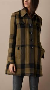 burberry brit check wool blend swing coat in green lyst