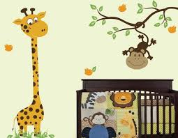 Monkey Decorations For Nursery Clever Giraffe Wall Decor Or Nursery Decals Baby With Monkey