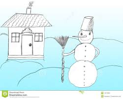 christmas snowman near house drawing stock illustration image