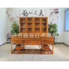 chinese elm wood furniture boss desk office desk bookcase combination