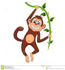 cute monkey swinging on vines cartoon stock vector image 58954135