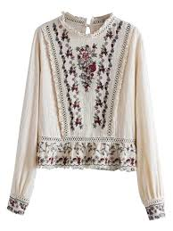 floral blouse beige embroidery floral ruffle hem sleeve blouse choies
