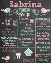 1st birthday chalkboard birthday chalkboard printable poster bird theme baby girl