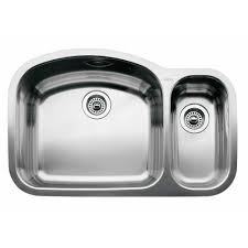Two Bowl Kitchen Sink by Blanco 440246 Wave Stainless Steel Undermount Double Bowl Kitchen