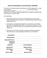 13 short term rental agreement templates u2013 free sample example