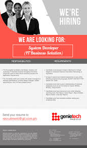 Sample Resume For Dot Net Developer Experience 2 Years by System Developer It Business Solution