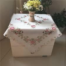 broderie cuisine 83 cm moderne carré blanc satin table tissu thé brun broderie