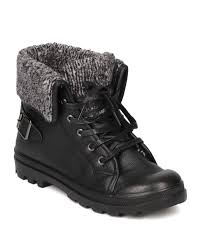 black sweater boots refresh casper02 leatherette capped toe lace up sweater